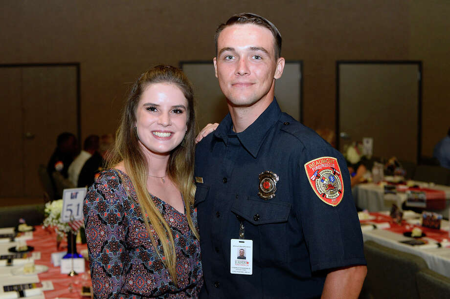 "Madelyn Holdreith and Chance Fitzgerald during the LIT Foundation's ""A Salute to the Real American Heroes"" dinner at Wesley United Methodist Church. The event is a fundraiser for scholarships for students in fire, EMS, police, criminal justice and homeland security programs. 