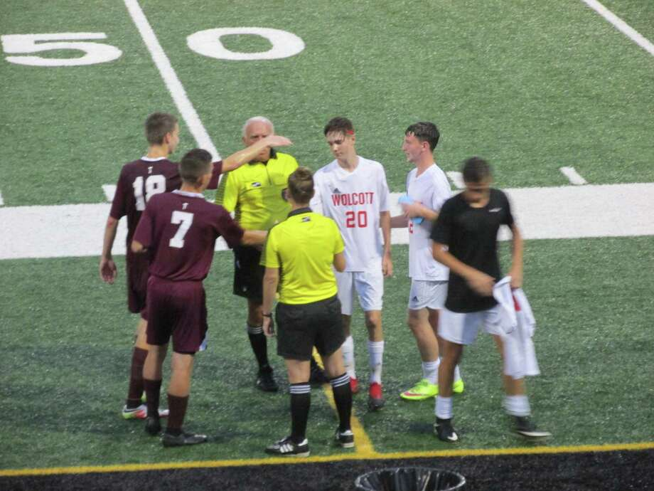 Torrington and Wolcott kicked off their soccer seasons in the rain in a Torrington win at the Robert H. Frost Sports Complex Thursday evening Photo: Peter Wallace / For Hearst Connecticut Media