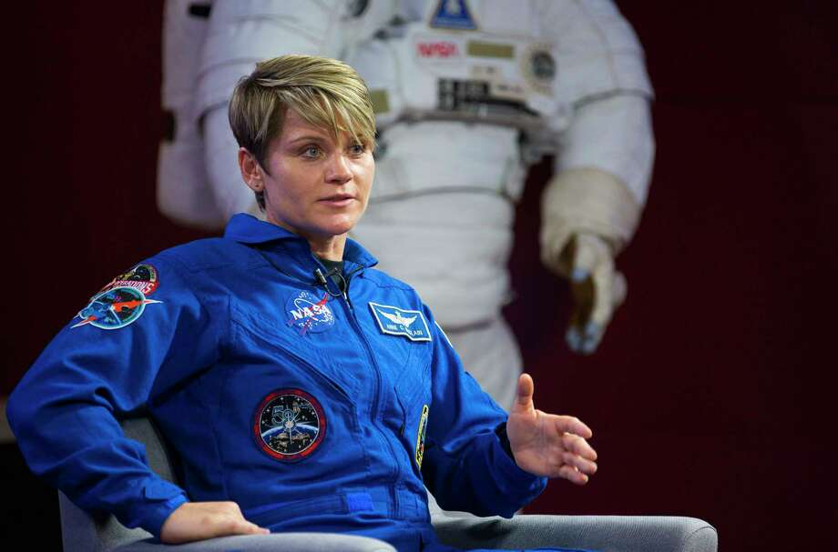 NASA astronaut Anne McClain, along with her crewmates David Saint-Jacques of the Canadian Space Agency and Oleg Kononenko of the Russian space agency Roscosmos, discuss their upcoming mission to the International Space Station in a news conference at NASA's Johnson Space Center, Thursday, Sept. 6, 2018 in Houston. The crew is scheduled to launch Dec. 20 aboard the Soyuz MS-11 spacecraft from the Baikonur Cosmodrome in Kazakhstan. Photo: Mark Mulligan, Staff Photographer / © 2018 Mark Mulligan / Houston Chronicle