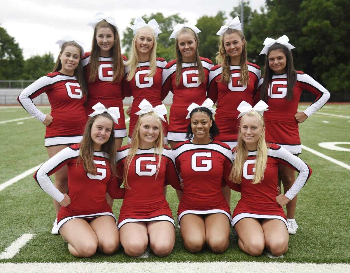 The 2018 Greenwich High School senior cheerleaders pose on media day at Greenwich High School's Cardinal Stadium in Greenwich, Conn. Sunday, Aug. 19, 2018.