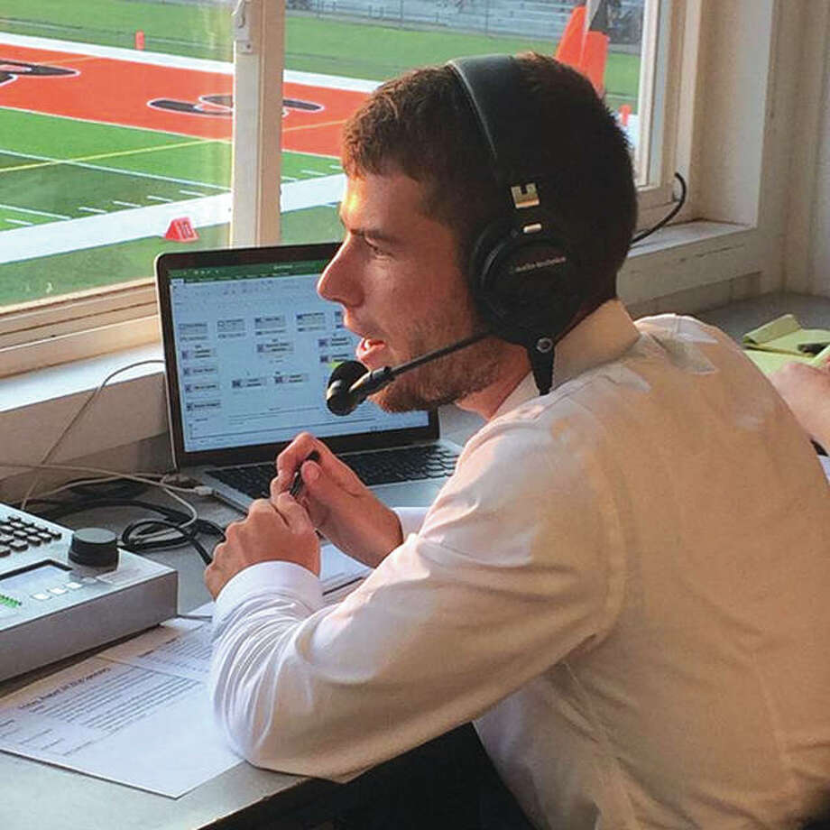 Radio announcer and Edwardsville High School (EHS) alumnus Colin Suhre provides play-by-play for the EHS Tigers. EHS games are being broadcast on SIUE's 88.7 WSIE FM The Sound. Photo: SIUE Photo