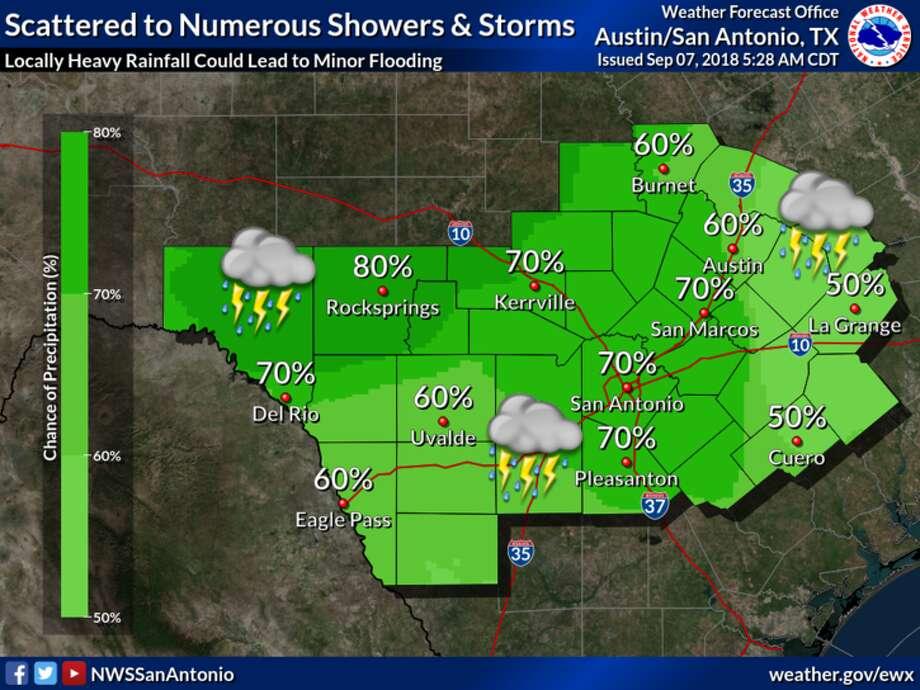 Heavy rainfall is expected all weekend throughout San Antonio. Photo: NWS