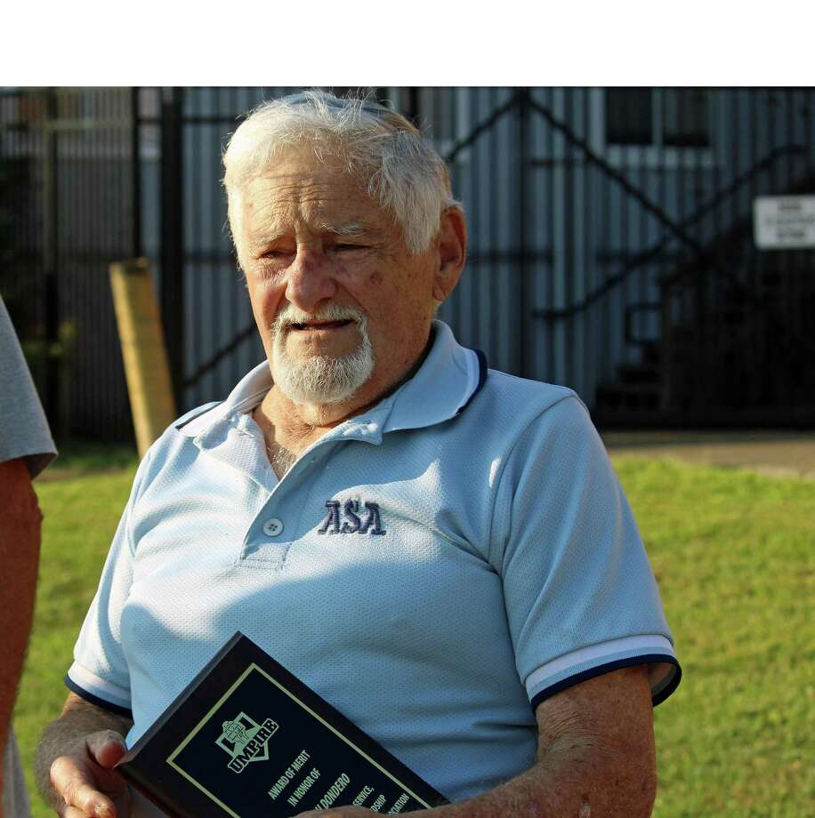 Joe Dondero, 90, has been umpiring baseball and softball games in town for 50 years. Photo: Genevieve Reilly / Hearst Connecticut Media / Fairfield Citizen