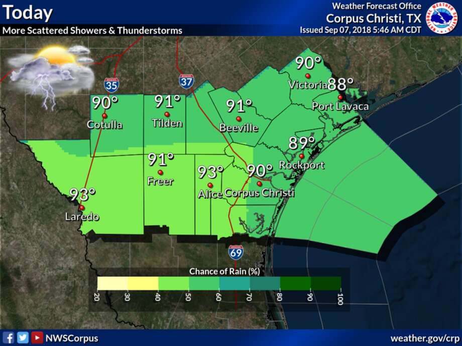 According to the National Weather Service, moderate to brief heavy downpours will be possible at times today. Photo: National Weather Service