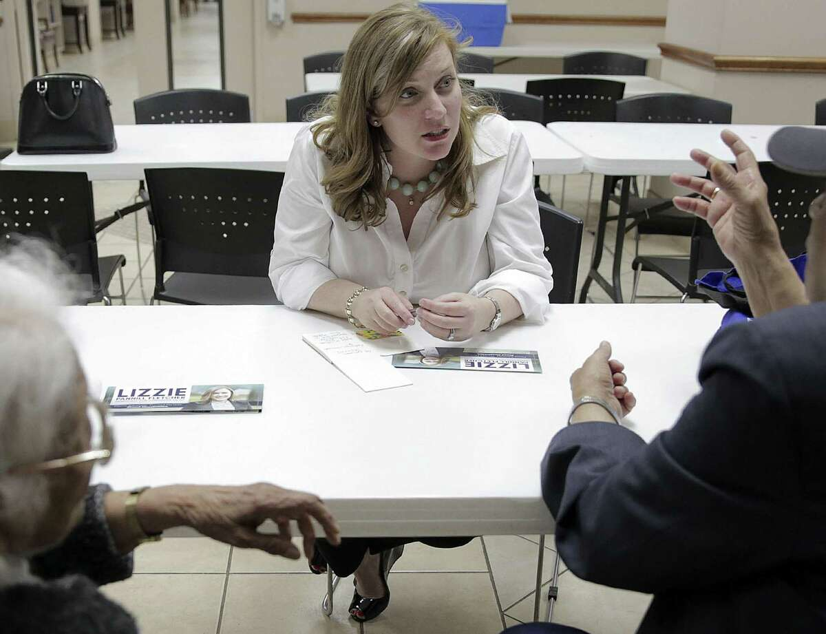 Seventh congressional district Democratic primary runoff candidate Lizzie Pannill Fletcher, talks with Ramesh, right, and Dr. Madhukanta Triyedi at Bellerive Senior Living Facility on Friday, April 13, 2018, in Houston. Pannill Fletcher is in a runnoff with democratic candidate Laura Moser. ( Elizabeth Conley / Houston Chronicle )