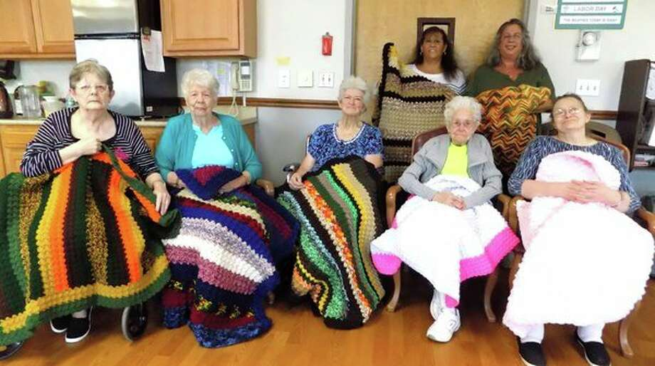 Gayle Humphries and Dawn Muntz from Grindstone-Port Hope Sportsman's Club and members presented the residents of the Harbor Beach Community Hospital Lakeview Extended Care and Rehab with many beautiful handmade-crocheted lap and full size blankets. The residents were thrilled to pick out a beautiful blanket and enjoyed visiting with the members. Most of the blankets are made out of yarn donated or odds and ends. If you have yarn you no longer use, please drop it off at the club so they can continue their mission to make blankets. (Submitted Photo)