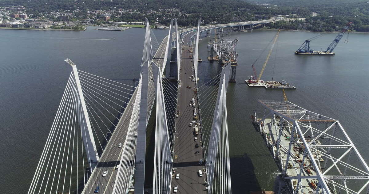 View of the Governor Mario M. Cuomo Bridge and Tappan Zee Bridge, right, on Tuesday, Sept. 4, 2018, in Tarrytown, N.Y. Gov. Andrew Cuomo announced that the second span of the Governor Mario M. Cuomo Bridge will open this Saturday, weather permitting. (Kevin Coughlin/Office of the Governor)