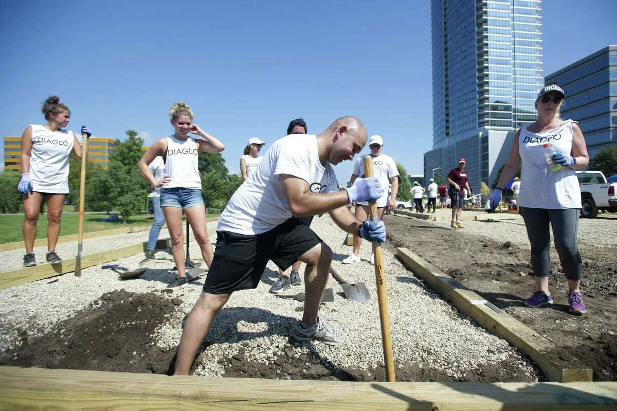 Nikhil Shah, of New York City, pounds down dirt while constructing the borders of a bocce court at Mill River Park in downtown Stamford, Conn. on Wednesday, Sept. 5, 2018. The Diageo employee is one of hundreds of volunteers working to construct the park's Back Porch, which will be an all-season community space and include a dog run, beer garden, bocce courts, fire pits and a children's play zone.