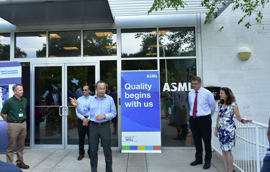 Louis Lu, ASML vice president of engineering, outlines the chip fabrication equipment manufacturer's new testing lab at 59 Danbury Road in Wilton, Conn., on Thursday, Sept. 6, 2018. Photo: Alexander Soule / Hearst Connecticut Media / Stamford Advocate