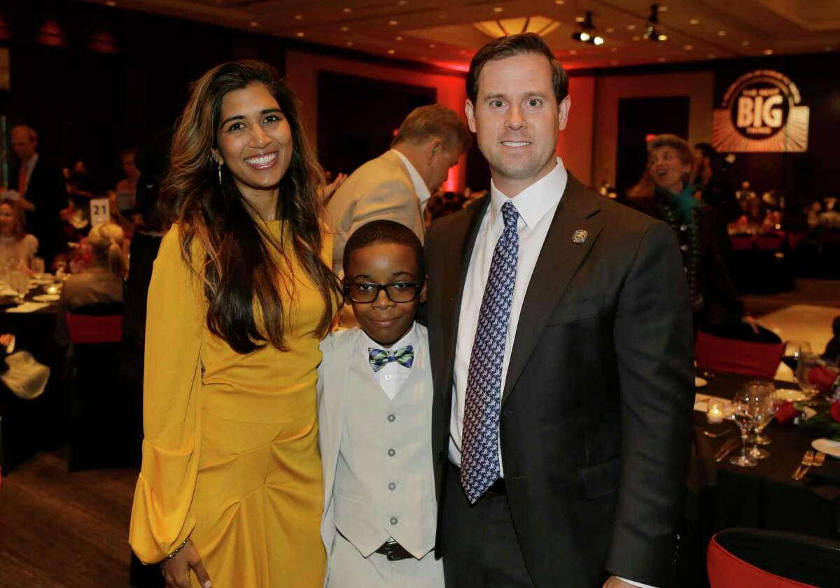 Divya Brown and Chris Brown with Little Brother, Jaden, 11, are shown during the Big Brothers Big Sisters gala held at the Royal Sonesta Hotel, 2222 West Loop S, Thursday, Sept. 6, 2018, in Houston.