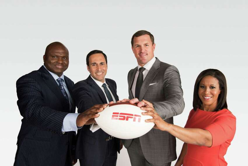 New York, NY - May 15, 2018 - ABC Studios: Portrait of Booger McFarland (l), Joe Tessitore, Jason Witten and Lisa Salters (Photo by Joe Faraoni / ESPN Images)