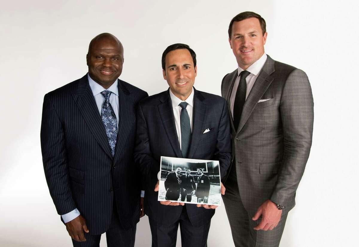 New York, NY - May 15, 2018 - ABC Studios: Portrait of Booger McFarland (l), Joe Tessitore and Jason Witten (Photo by Joe Faraoni / ESPN Images)