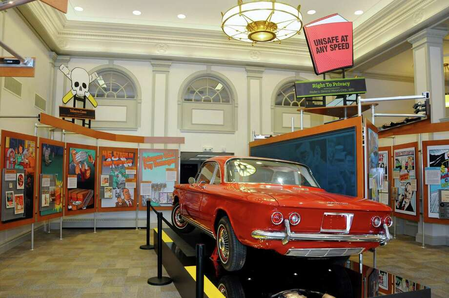 The poorly designed Chevrolet Corvair of the 1960s, which sparked major liability lawsuits, is a featured exhibit in the Museum of American Tort Law, founded by consumer advocate Ralph Nader in his hometown of Winsted. The museum is presenting a series of talks by legal experts, starting Sept. 27. Photo: Photo Courtesy Of Museum Of American Tort Law / Contributed Photo / Connecticut Post Contributed