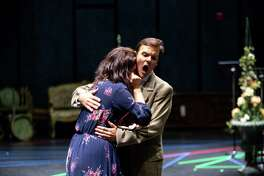 "Amanda Woodbury and David Portillo rehearse ""La Traviata,"" the kickoff to Opera San Antonio's 2018-19 season."