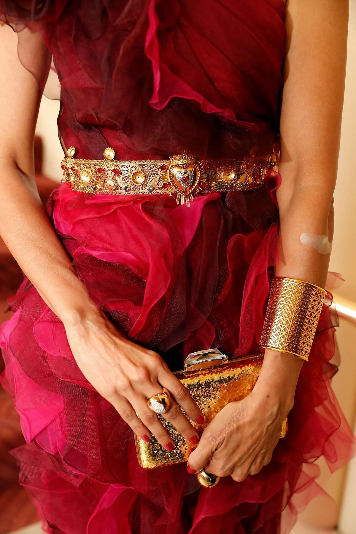 Komal Shah wearing Marchesa and a Dolce & Gabbana belt before Symphony Gala at Davies Symphony Hall in San Francisco, Calif. on Wednesday, September 5, 2018.