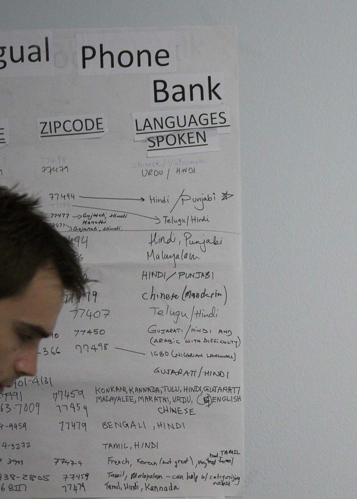 A long list of languages spoken by campaign volunteers hangs in the campaign office of Democrat Sri Preston Kulkarni on Thursday, Aug. 30, 2018 in Sugar Land. Kulkarni's staff has been running phone banking operations with various volunteers who can speak a diverse group of languages from Mandarin Chinese to Tamil to Spanish. The 22nd Congressional District Kulkarni is running in is considered the most diverse in the state and includes Sugar Land and much of the rest of Fort Bend County.