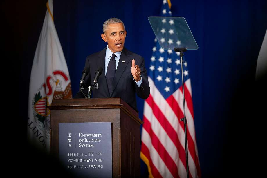 "Former President Barack Obama speaks at the University of Illinois at Urbana-Champaign. He criticized President Trump, saying Trump practiced a ""politics of fear and resentment."" Photo: Daniel Acker / New York Times"