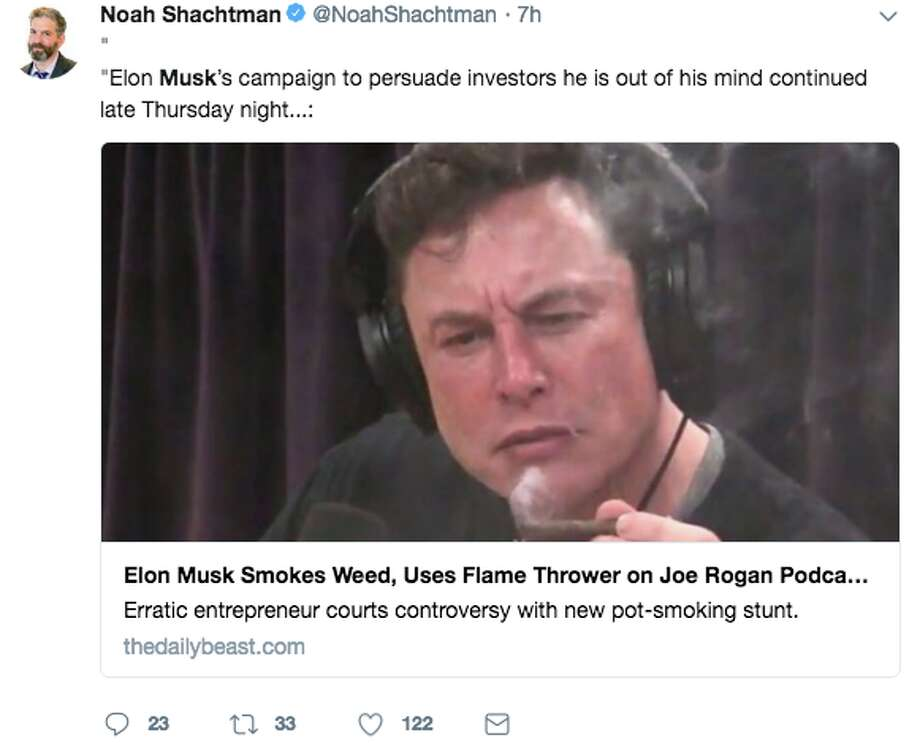 "Twitter users react to Elon Musk's appearance on ""The Joe Rogan Experience"" on Thursday, Sept. 6, 2018. Photo: Twitter Screen Grab"