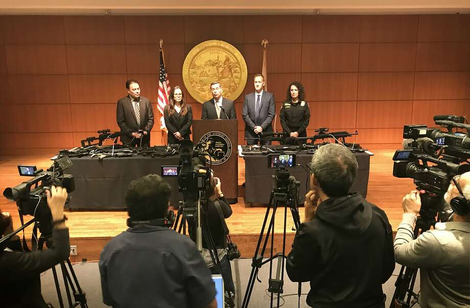 California Attorney General Xavier Becerra announced human trafficking and wage theft charges against a San Mateo County family who operated six residential care facilities. The family allegedly exploited hundreds of workers and amassed an arsenal of illegal weapons. Photo: Evan Sernoffsky