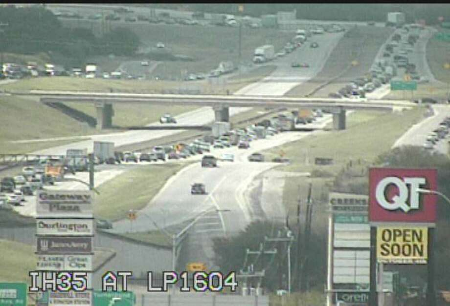 Traffic is backed up in both directions at Loop 1604 near Nacogdoches. Photo: TxDOT San Antonio