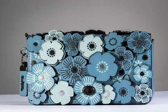 Coach blue flower bag, $595, Neiman Marcus