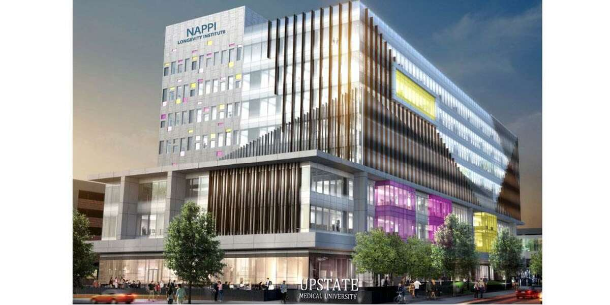 An investigation by the state inspector general and Onondaga County district attorney is examining the bidding procedures for a proposed eight-story health and wellness center, the Nappi Longevity Institute, that is scheduled to be built at Upstate Medical University in Syracuse. The project is scheduled to break ground this fall. (Architectural renderings/Upstate Medical University)