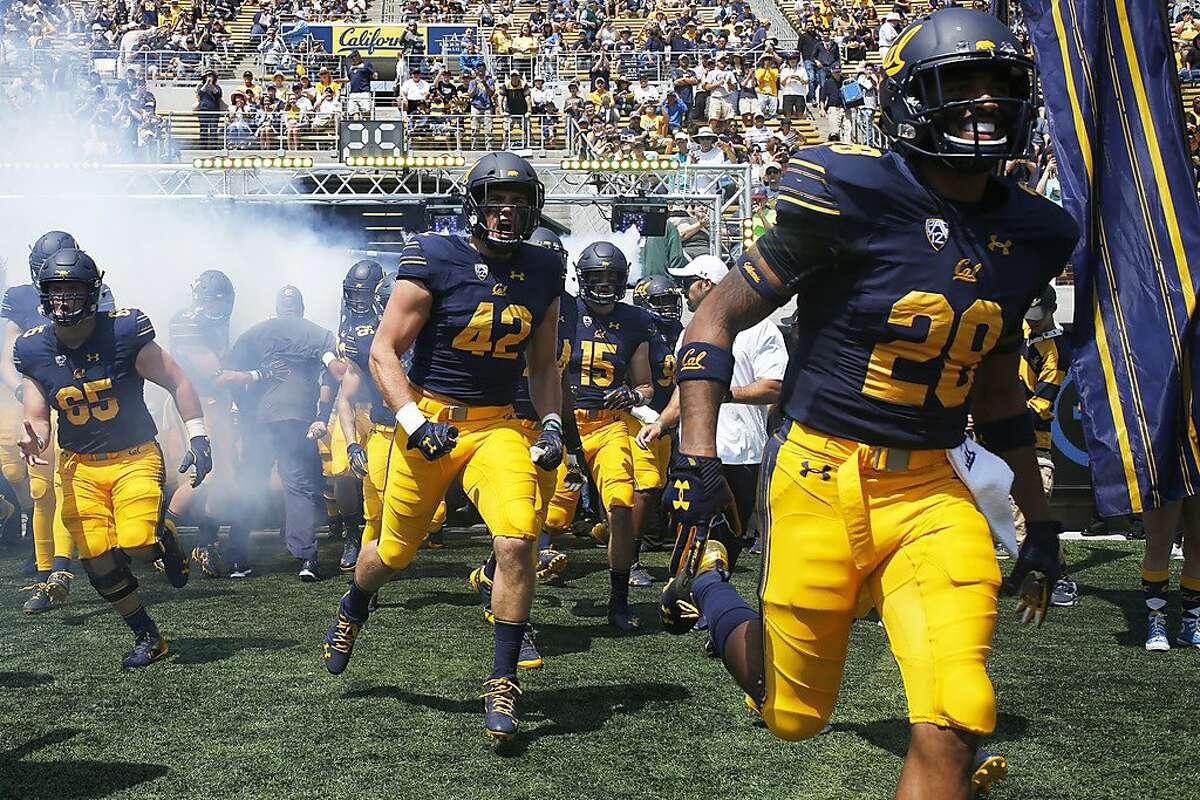 The California Golden Bears are introduced before an NCAA football game between Cal and the North Carolina Tar Heels at Memorial Stadium, Saturday, Sept. 1, 2018, in Berkeley, Calif.