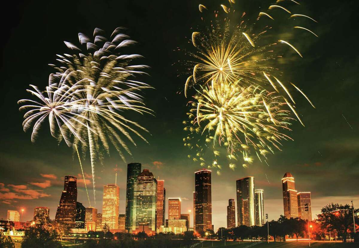 Fireworks over downtown Houston.