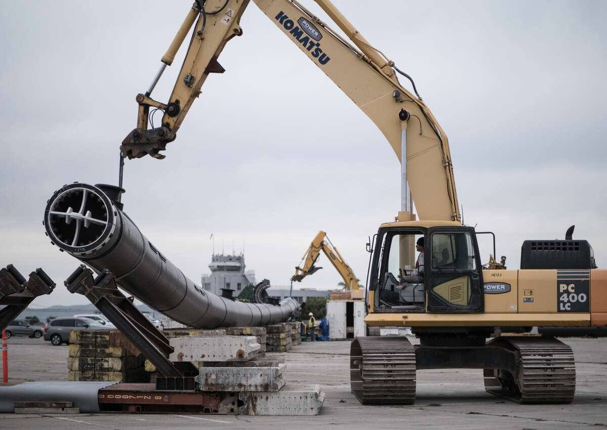 Workers were still putting together the 2,000-foot-long tube in fall 2018.