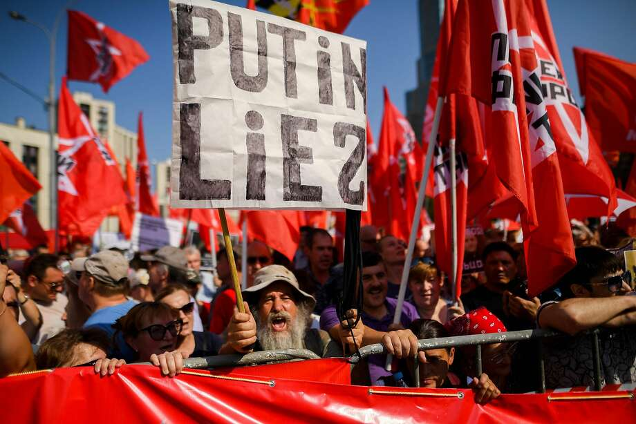 Demonstrators rally in Moscow last Sunday against President Vladimir Putin's plan to raise Russia's retirement age. The proposal would affect the safety net for millions in their 50s, a critical bloc for Putin. Photo: Kirill Kudryavtsev / AFP / Getty Images