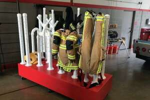 Chris Polnick, a firefighter with The Woodlands Fire Department theorized, designed and then constructed this unique uniform dryer. The dryer allows for the fire fighting specialty uniforms, also known as PPE or Personal Protection Equipment, to be dried much faster than in a normal spin-dryer.