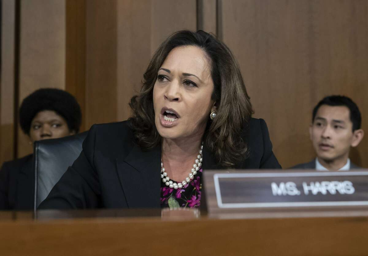 Sen. Kamala Harris, D-Calif., and other Democrats on the Senate Judiciary Committee appeal to Chairman Chuck Grassley, R-Iowa, to delay the confirmation hearing of President Donald Trump's Supreme Court nominee, Brett Kavanaugh, on Capitol Hill in Washington, Tuesday, Sept. 4, 2018. (AP Photo/J. Scott Applewhite)