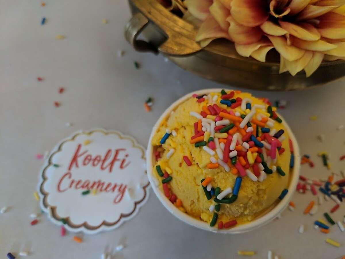 Koolfi Creamery�s �Jai Ho� Sweet Alphonso Mango ice cream with rainbow sprinkles.