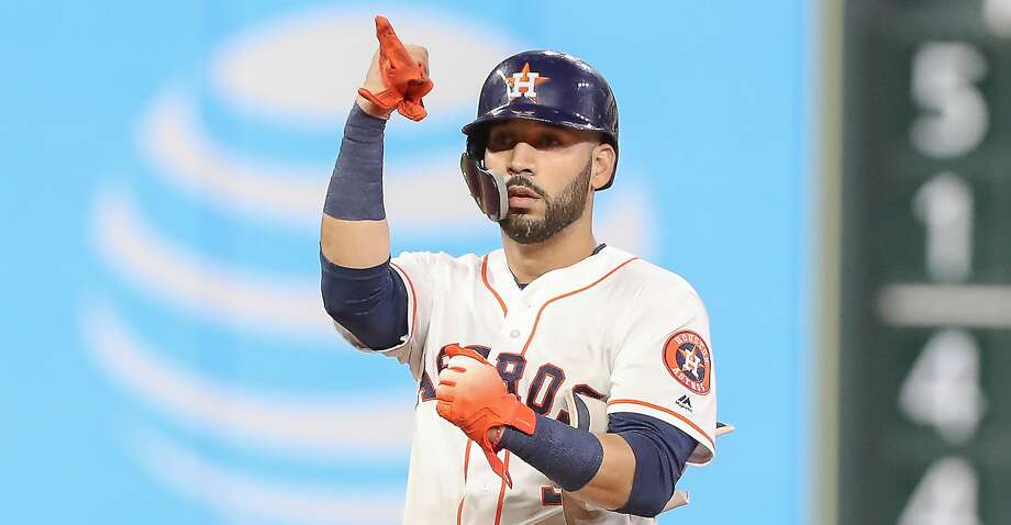PHOTOS: Astros game-by-game Houston Astros left fielder Marwin Gonzalez (9) reacts to the bench after hitting a double in the 7th inning during an MLB game at Minute Maid Park Monday, Aug. 27, 2018, in Houston. Browse through the photos to see how the Astros have fared in each game this season. Photo: Steve Gonzales/Staff Photographer