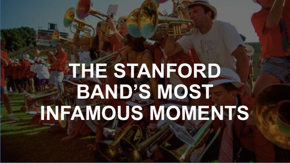 An overview of some of the Stanford band's most infamous moments. Here, the mellophones play on others backs during a postgame rally at band reunion game.