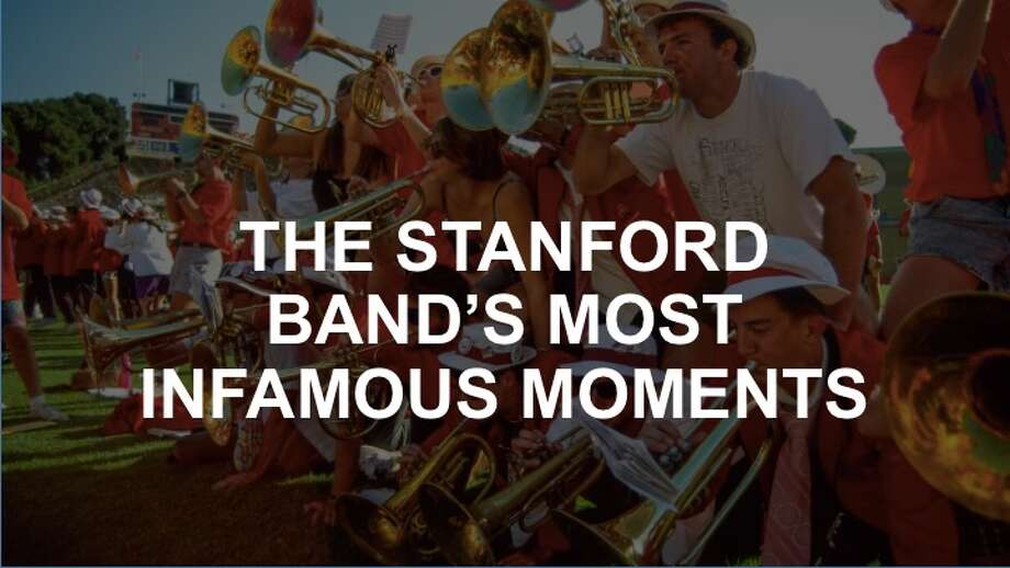 An overview of some of the Stanford band's most infamous moments. Here, the mellophones play on others backs during a postgame rally at band reunion game. Photo: Robby Beyers / Courtesy Stanford University Archives