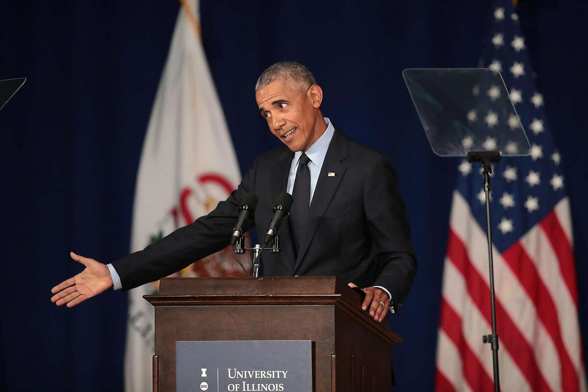 URBANA, IL - SEPTEMBER 07: Former President Barack Obama speaks to students at the University of Illinois where he accepted the Paul H. Douglas Award for Ethics in Government on September 7, 2018 in Urbana, Illinois. The award is an annual honor given by the university's Institute of Government and Public Affairs to recognize public officials who have made significant contributions in public service. (Photo by Scott Olson/Getty Images)