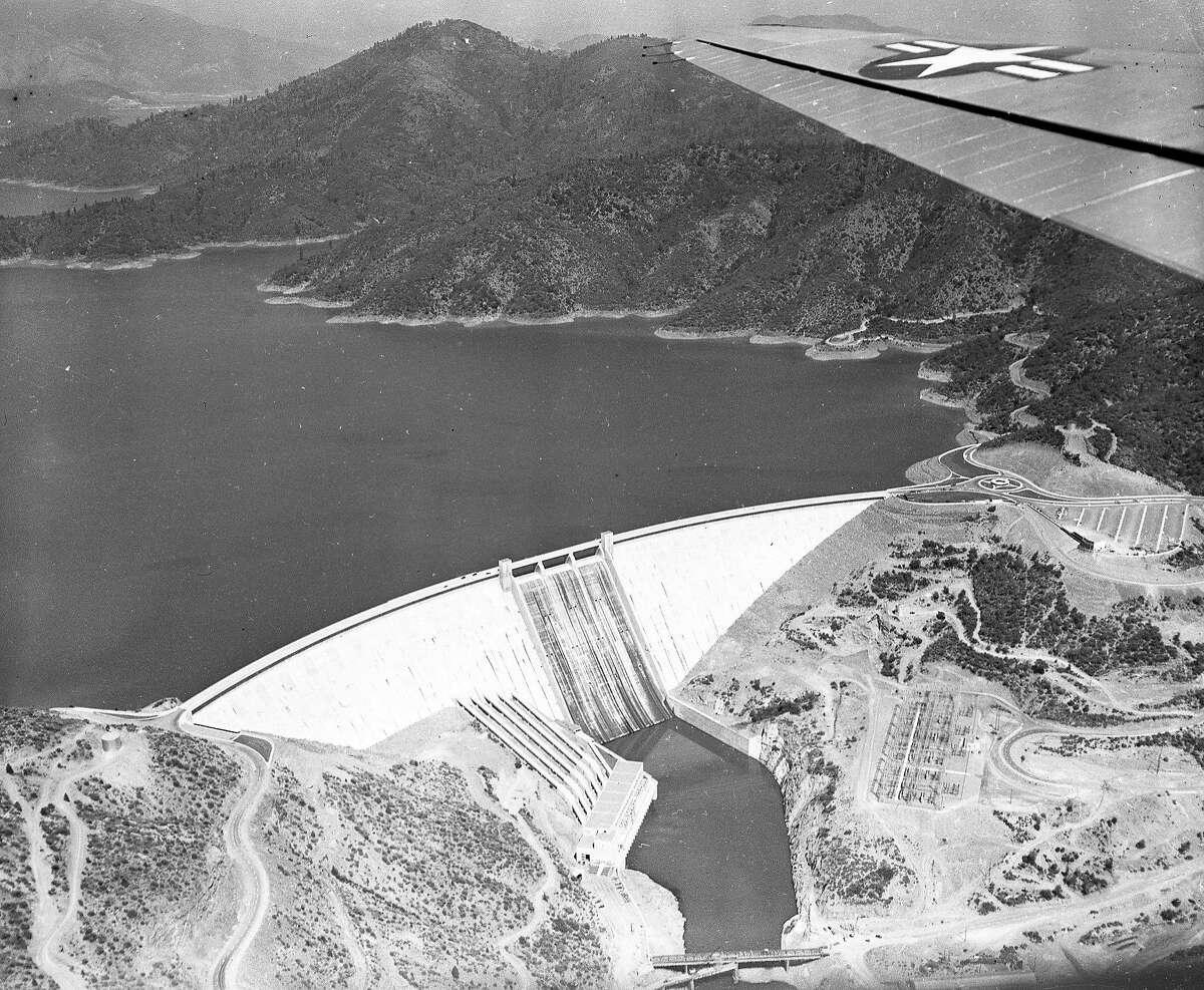 Aerial view of Shasta Dam,July 1951