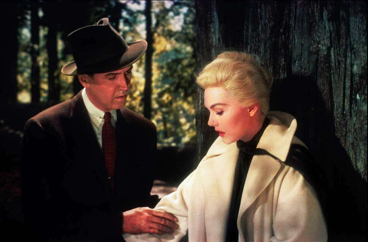 """This image released by Universal Studios shows Jimmy Stewart, left, and Kim Novak in a scene from """"Vertigo."""" On Sunday, as part of the TCM Big Screen Classics series, ?""""Vertigo?"""" will be back in theaters with an encore on Wednesday, March 21. (Universal Studios via AP)"""