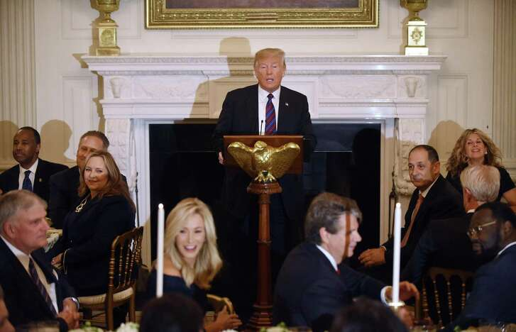 President Donald Trump delivers remarks during a dinner for Evangelical leadership in the State Dining Room of the White House Aug. 27, 2018 in Washington, D.C.