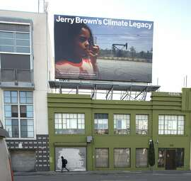 Activists including Consumer Watchdog and Green peace have put up a billboard aimed at pushing governor Jerry Brown to limit oil and gas drilling rigs in the state seen on Harrison near 5th streets on Friday, Sept. 7, 2018 in San Francisco, Calif.