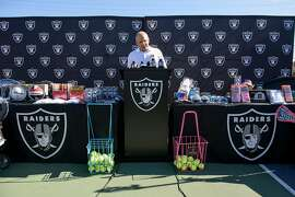 Oakland Raiders president Marc Badain speaks during a  press conference at Oakland Technical High School in Oakland, CA, on Friday August 31, 2018, where his Oakland Raiders donated a $250,000 check to help pay for sports programs slashed by Oakland Unified School District budget cuts.