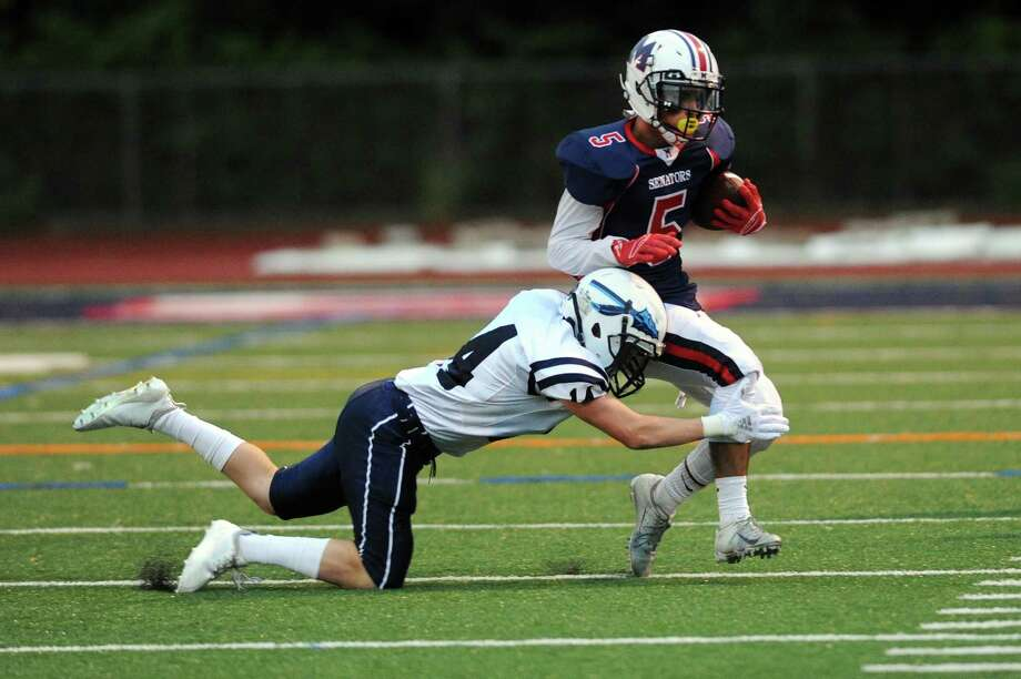 Photos from the varsity football game featuring Brien McMahon High School against Wilton High School at Jack Casagrande Field in Norwalk, Conn. on Friday, Sept. 7, 2018. Photo: Michael Cummo, Hearst Connecticut Media / Stamford Advocate