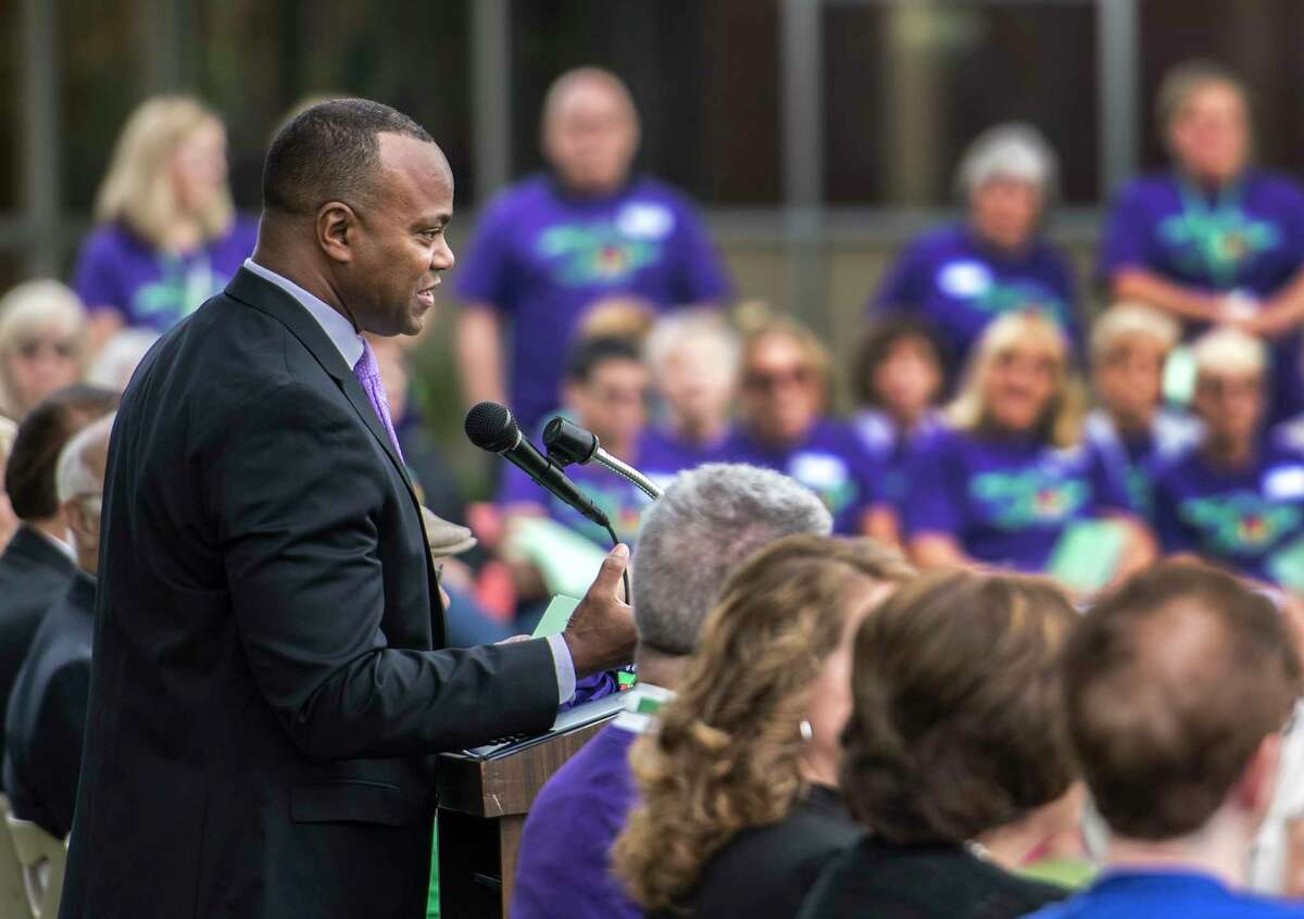 Dr. L. Oliver Robinson, Superintendent speaks the 50th Anniversary Celebration of the Karigon and Orenda Schools Friday Sept. 7, 2018 on the Shenendehowa Campus in Clifton Park, N.Y. (Skip Dickstein/Times Union)