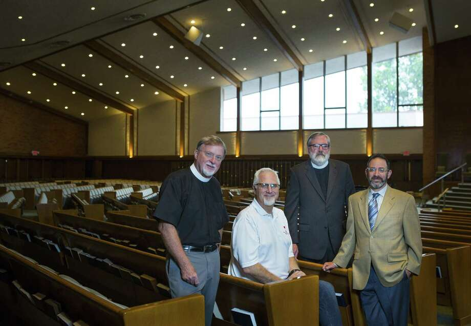 The Rev. Dr. Duane Larson, from left, of Christ the King Evangelical Lutheran Church, the Rev. Dr. Michael Dunn, of First Christian Church, the Rev. Neil Alan Willard of Palmer Memorial Episcopal Church, and Rabbi Oren Hayon of Congregation Emanu El, traveled together to the National Memorial of Peace and Justice. Photo: Mark Mulligan, Houston Chronicle / Staff Photographer / © 2018 Mark Mulligan / Houston Chronicle