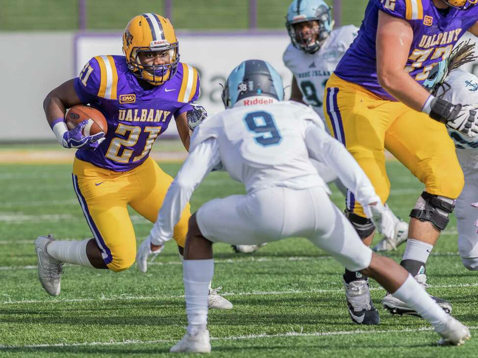 UAlbany freshman running back Karl Mofor runs against Rhode Island in their game on Saturday, Oct, 28, 2017. The visiting Rams prevailed 31-14 over the Great Danes. (Bill Ziskin / UAlbany Athletics)