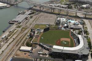 The grass of Whataburger Field adds color to the landscape in Corpus Christi, Texas, Tuesday, Aug. 8, 2017. Whataburger Field is home to the Houston Astros affiliated Double A team, the Corpus Christi Hooks.