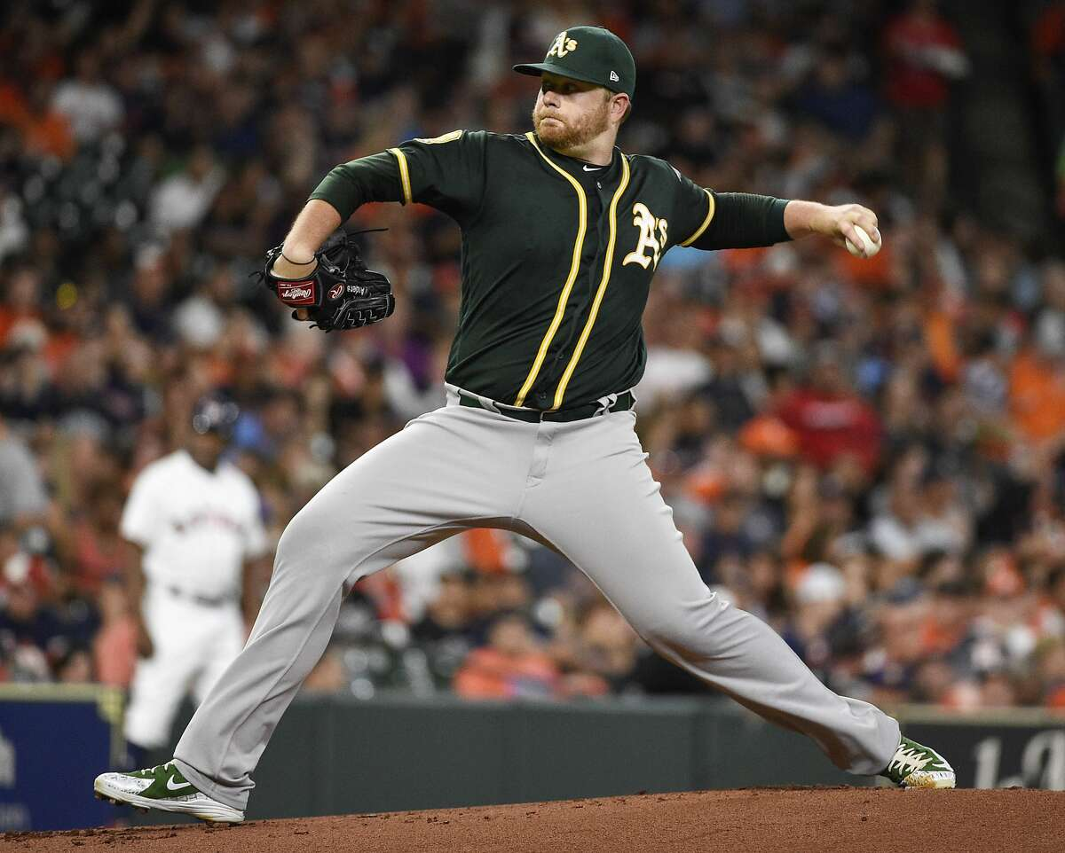 Oakland Athletics starting pitcher Brett Anderson delivers during the first inning of a baseball game against the Houston Astros, Monday, Aug. 27, 2018, in Houston. (AP Photo/Eric Christian Smith)