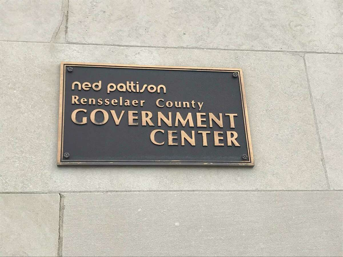 The Ned Pattison Rensselaer County Governmental Center official sign at 1600 Seventh Ave., Troy, New York.