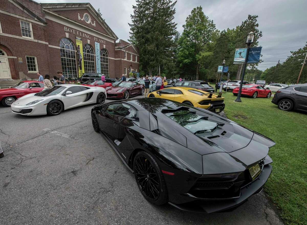 Numerous exotic cars assembled on the grounds of the Saratoga Auto Museum in 2018 in Saratoga Springs, N.Y. (Skip Dickstein/Times Union)